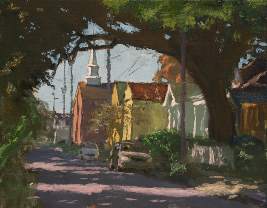 """Looking Down Burdette Street from Willow   14"""" x 18""""  $2400"""