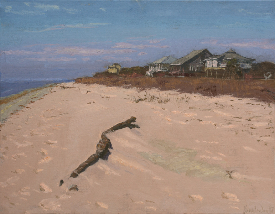 """Driftwood's World  14"""" x 18""""   $2400   Ocean Springs  This painting greatly resembles Andrew Wyeth's painting, """"Christina's World."""" I didn't overtly intend this, but noticed after completing the painting."""